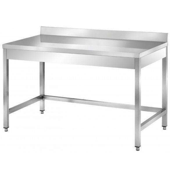 Rozsdamentes asztal hátsó felhajtással, lapraszerelt, 1600x700x850mm – EMPEROEMP.AT.70160