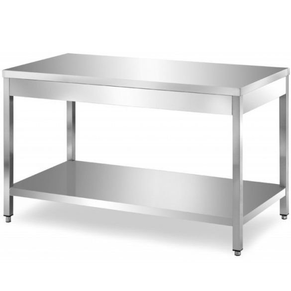 Rozsdamentes asztal alsó polccal, lapraszerelt, 800x600x850mm – EMPEROEMP.ATT.6080-O