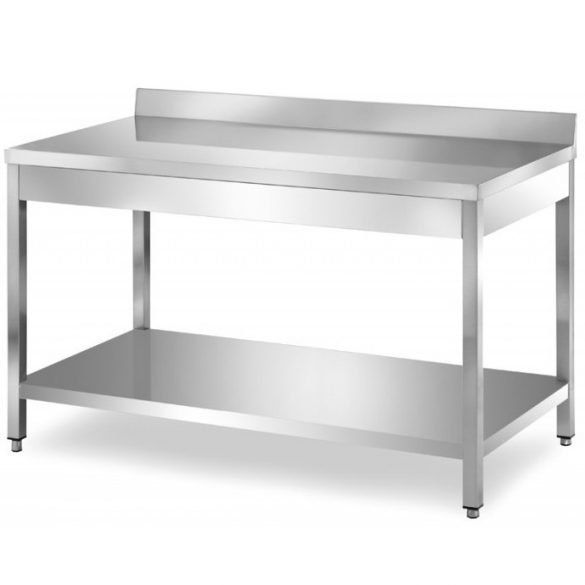 Rozsdamentes asztal alsó polccal, hátsó felhajtással, lapraszerelt, 2200x700x850mm – EMPEROEMP.ATT.70220
