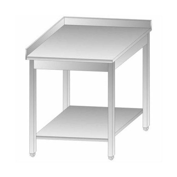 Rozsdamentes asztal BAL sarokelem alsó polccal, hátsó felhajtással, lapraszerelt, 700x700x850mm – EMPEROEMP.KKT.7070-L