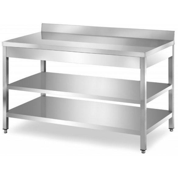 Rozsdamentes asztal háromszintes, alsó és közbenső polccal, hátsó felhajtással, lapraszerelt, 1800x700x850mm – EMPEROEMP.ATT2.70180