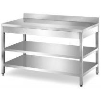 Rozsdamentes asztal háromszintes, alsó és közbenső polccal, hátsó felhajtással, lapraszerelt, 2200x700x850mm – EMPERO EMP.ATT2.70220