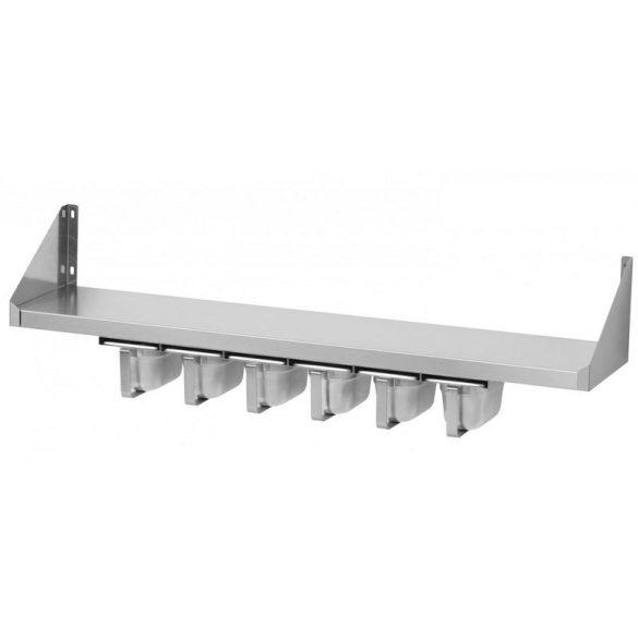 RM GASTRO PNK 82/64 Rozsdamentes acél falipolc 80x20cm, alsó fűszertartóval (4xGN1/6)