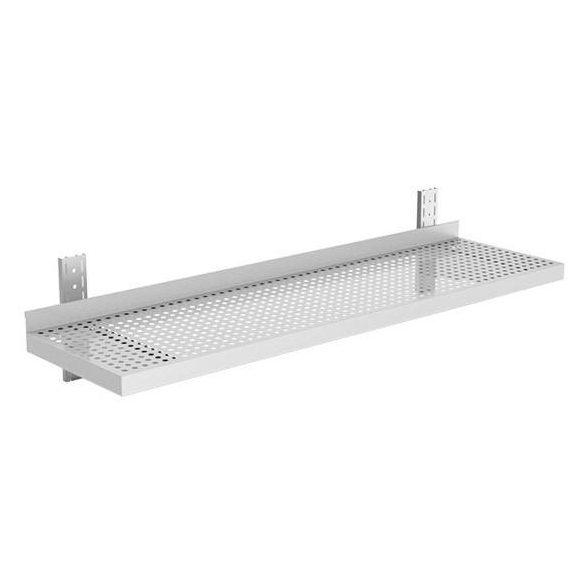 Rozsdamentes falipolc, perforált lappal, állítható konzollal, lapraszerelt, 140x40cm – EMPEROEMP.ETP1.40140