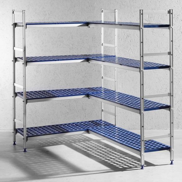 HENDI 812273 Tároló állvány, négyszintes, alumínium, perforált műanyag polclapokkal, 1280x405x1685mm