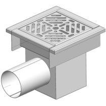 GASZTROMETÁL PLO 260 Rozsdamentes padlóösszefolyó oldalsó vízelfolyással, 260x260mm