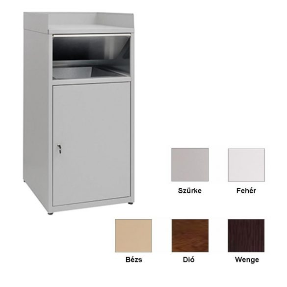 Gyorséttermi hulladékgyűjtő, 80 literes, diófa színű kivitel – METALCARRELLI2596