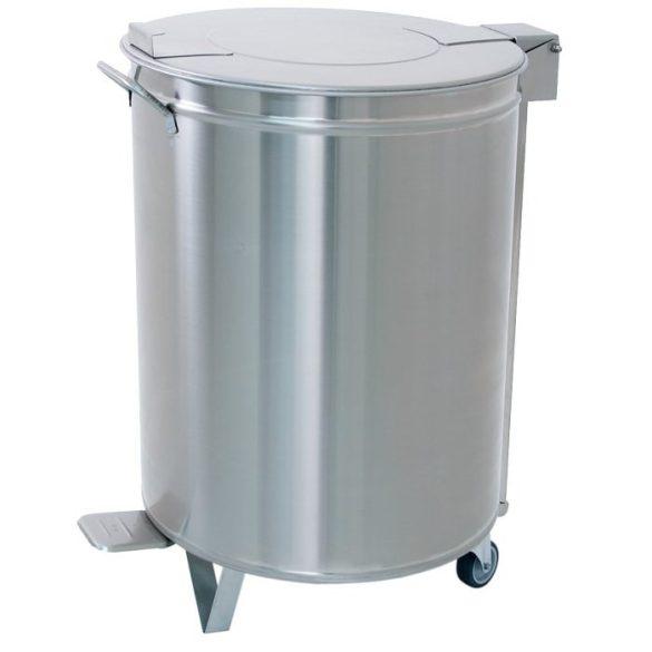 Fedeles lábpedálos nagykonyhai hulladékgyűjtő, rozsdamentes, 50 literes – METALCARRELLI2150PP