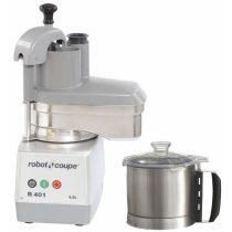 ROBOT-COUPE R 401 Kutter + Zöldségszeletelő 4,5 literes rozsdamentes tartállyal, 700W