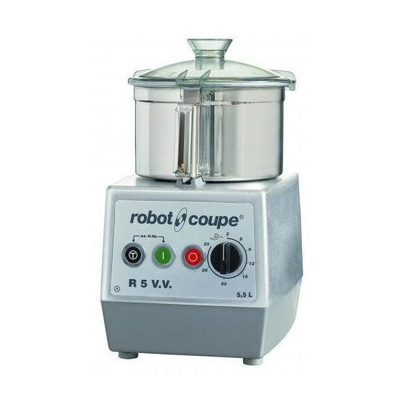 ROBOT-COUPE R 5 VV Kutter rozsdamentes motorblokkal és tartállyal 5,9L, állítható sebesség