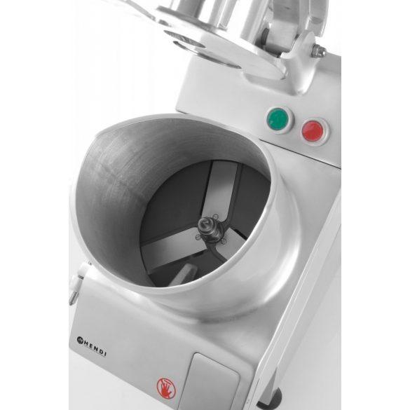 HENDI 231852 Nagyteljesítményű zöldségszeletelő és sajtreszelő gép 5 tárcsával, nagy betöltőnyílással, 750W (HENDI)