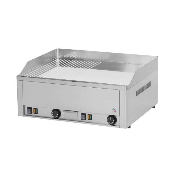 REDFOX FTHRC 60 E Sütő lap 1/2 sima, 1/2 bordázott króm lappal 65x48cm, elektromos, asztali kivitel.