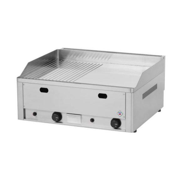 REDFOX FTHRC 60 G Szeletsütő lap 1/2 sima, 1/2 bordázott króm sütőfelülettel 65x48cm, gázüzemű, asztali.