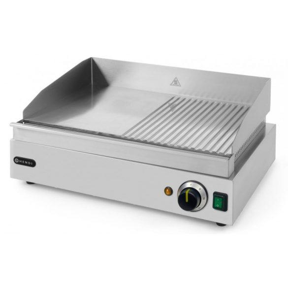 HENDI 203156 Szeletsütő lap, elektromos, 518x328mm-es sima+bordázott krómozott sütőfelülettel