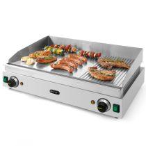 Szeletsütő lap, elektromos, 688x410mm-es sima+bordázott krómozott sütőfelülettel – HENDI203163