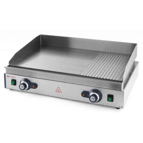 HENDI 203163 Szeletsütő lap, elektromos, 688x410mm-es sima+bordázott krómozott sütőfelülettel