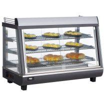 Maxima 09400790 Melegentartó vitrin, elől-hátul üveg tolóajtóval, 136 literes