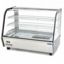 Maxima 09400851 Hajlított üvegű melegentartó vitrin, pultra helyezhető, 160 literes