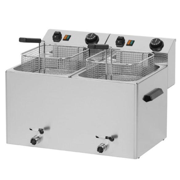 REDFOX FE 77 VT Olajsütő elektromos, asztali 2x8L medencés, 540mm, olajleeresztő csappal