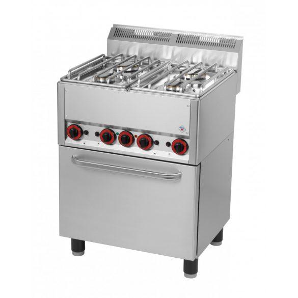 REDFOX SPT 60 GL Gáztűzhely 4 égős (2x3,6kW+2x3kW), GN1/1 elektromos légkeveréses sütővel