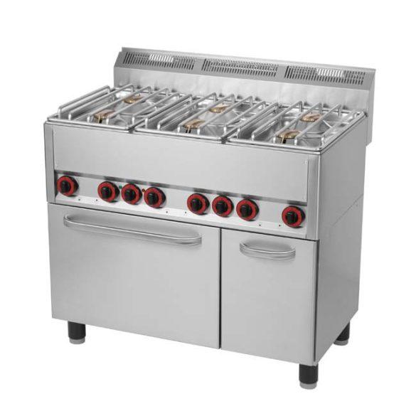 REDFOX SPT 90 GLS Gáztűzhely 6 égős (6x4,5kW), GN1/1 elektromos légkeveréses sütővel, ajtós tárolóval
