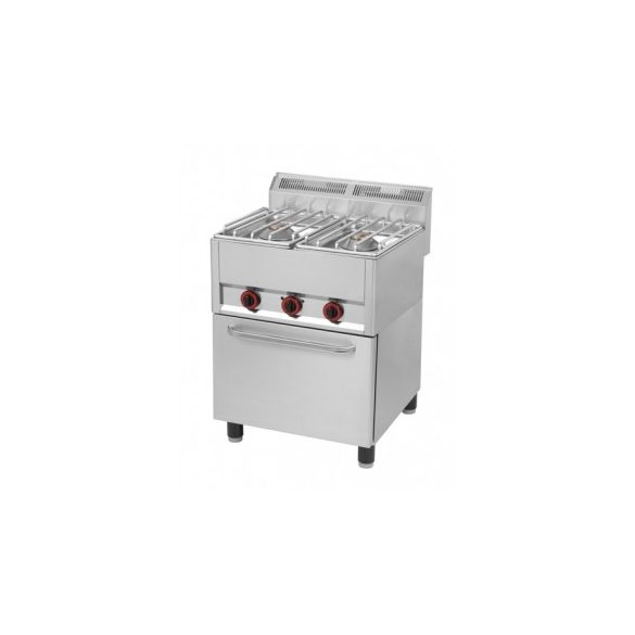 REDFOX SPT 62 GLS Gáztűzhely 2 égős (2x8kW), GN1/1 elektromos légkeveréses sütővel