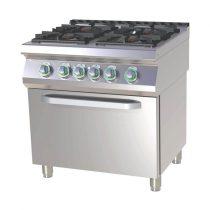 RM GASTRO SPT 780-11 GE Gáztűzhely 4 égős (3x 7,5kW + 4,5kW) elektromos légkeveréses sütővel, 800mm