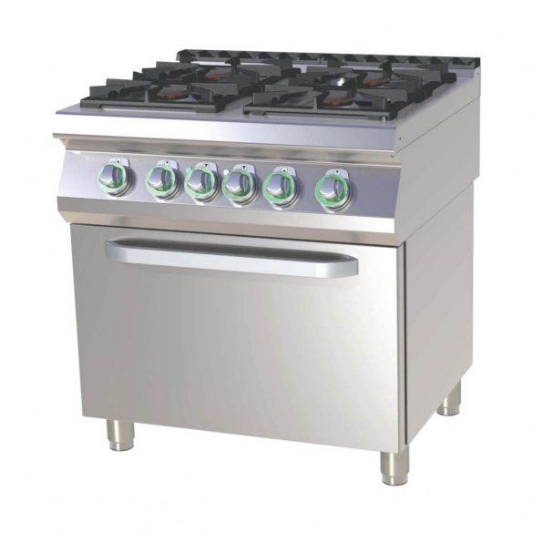 RM GASTRO SPT 780-21 GE Gáztűzhely 4 égős (3x 7,5kW + 4,5kW) elektromos statikus sütővel, 800mm