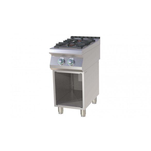 RM GASTRO SP 740 G Gáztűzhely 2 égős, alsó nyitott tárolóval, 400mm (4,5kW + 7,5kW)
