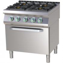 RM GASTRO SPST 780-21 G Gáztűzhely 4 égős (3x 8,5 kW + 4 kW) gázüzemű statikus sütővel, 800mm