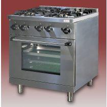 EMAX NGT-800 Gáztűzhely 4 égős 16,2kW, GN2/1 méretű gázüzemű sütővel