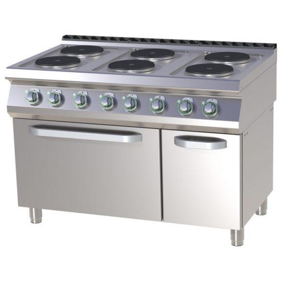 RM GASTRO SPT 7120-21 E Tűzhely elektromos hat főzőlapos, GN2/1 statikus sütővel, 1200mm