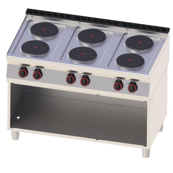 REDFOX SP 70/120 E Tűzhely elektromos, hat főzőlapos, nyitott tárolószekrénnyel, 1200mm