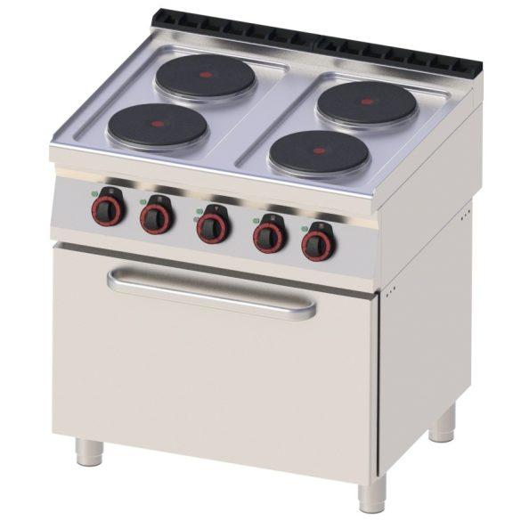 REDFOX SPT 70/80 11 E Tűzhely elektromos, négy főzőlapos, GN1/1 légkeveréses sütővel, 800mm