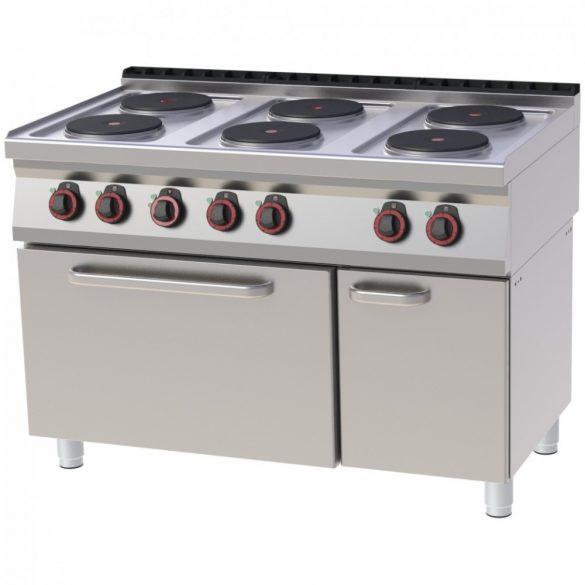 REDFOX SPT 70/120 11 E Tűzhely elektromos, hat főzőlapos, GN1/1 légkeveréses sütővel, tárolószekrénnyel, 1200mm