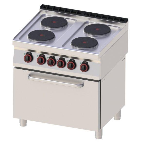 REDFOX SPT 70/80 21 E Tűzhely elektromos, négy főzőlapos, GN2/1 statikus sütővel, 800mm
