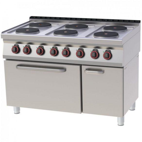 REDFOX SPT 70/120 21 E Tűzhely elektromos, hat főzőlapos, GN2/1 statikus sütővel, tárolószekrénnyel, 1200mm
