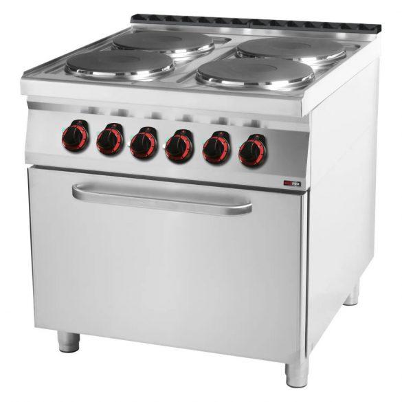 REDFOX SPT 90/80-21 E Tűzhely elektromos 4 főzőlappal, statikus elektromos sütővel.