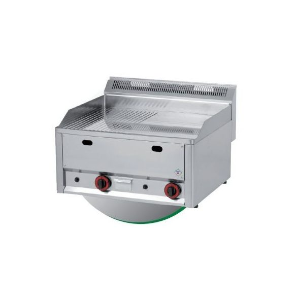 REDFOX FTHRC 60 EL Szeletsütő lap 1/2 sima és 1/2 bordázott króm felülettel, elektromos asztali 660mm