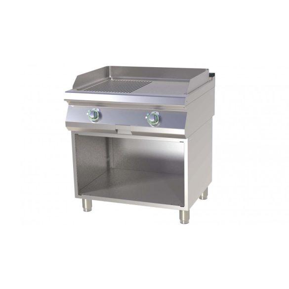 RM GASTRO FTHR 780 E Szeletsütő lap 1/2 sima, 1/2 bordázott sütőfelülettel, elektromos, alsó nyitott tárolóval, 800mm
