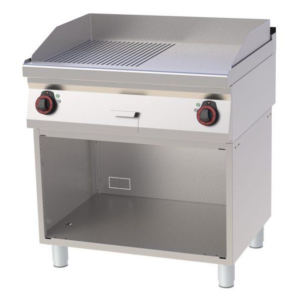 REDFOX FTHR 70/80 E Szeletsütő lap sima+bordázott sütőfelülettel, elektromos, nyitott tárolószekrénnyel, 800mm