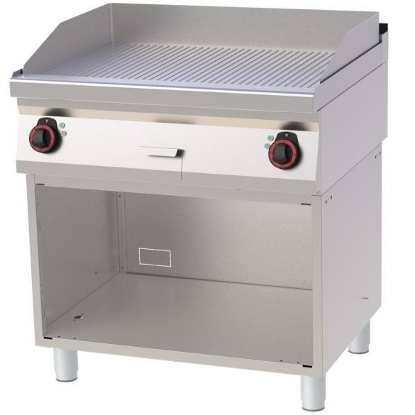 REDFOX FTR 70/80 E Szeletsütő lap bordázott sütőfelülettel, elektromos, nyitott tárolószekrénnyel, 800mm