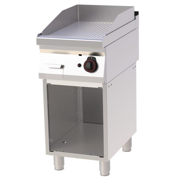 REDFOX FTR 70/40 G Szeletsütő lap bordázott sütőfelülettel, gázüzemű, nyitott tárolószekrénnyel, 400mm