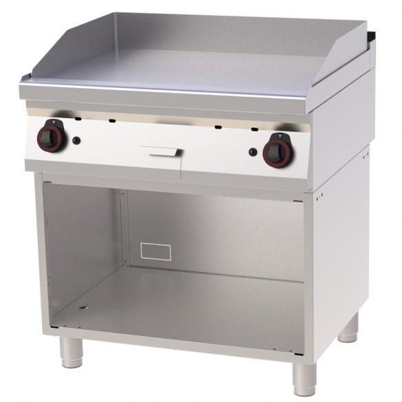 REDFOX FTH 70/80 G Szeletsütő lap sima sütőfelülettel, gázüzemű, nyitott tárolószekrénnyel, 800mm