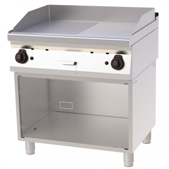 REDFOX FTHR 70/80 G Szeletsütő lap sima+bordázott sütőfelülettel, gázüzemű, nyitott tárolószekrénnyel, 800mm
