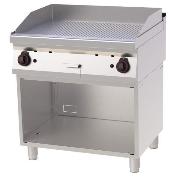 REDFOX FTR 70/80 G Szeletsütő lap bordázott sütőfelülettel, gázüzemű, nyitott tárolószekrénnyel, 800mm