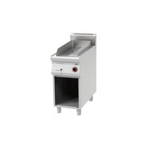 REDFOX FTR 90/40 E Szeletsütő lap, elektromos, bordázott sütőfelülettel, nyitott tárolóval, 400mm