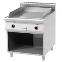 REDFOX FTR 90/80 E Szeletsütő lap, elektromos, bordázott sütőfelülettel, nyitott tárolóval, 800mm