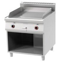 REDFOX FTHR 90/80 E Szeletsütő lap, elektromos, 1/2 sima, 1/2 bordázott sütőfelülettel, nyitott tárolóval, 800mm