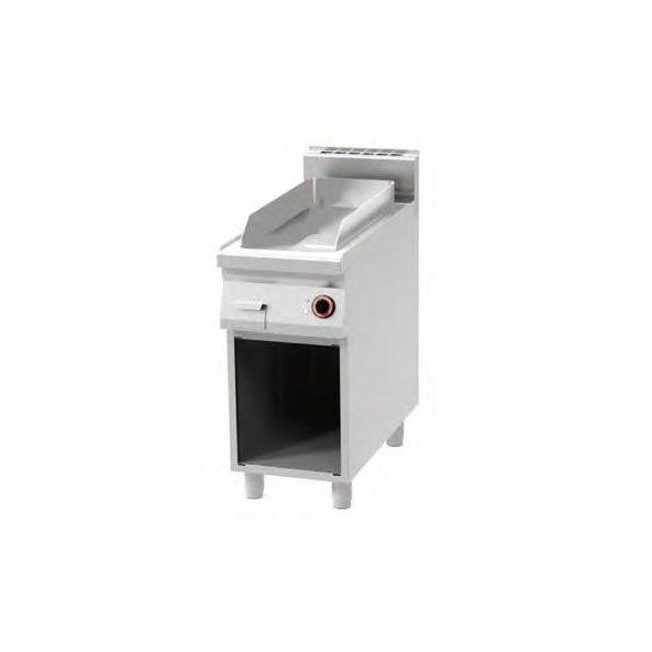 REDFOX FTHC 90/40 E Szeletsütő lap, elektromos, sima króm sütőfelülettel, nyitott tárolóval, 400mm